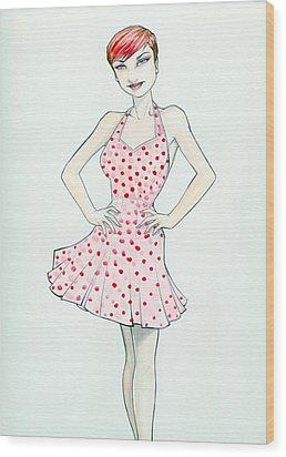 Polka Dot Pink Wood Print