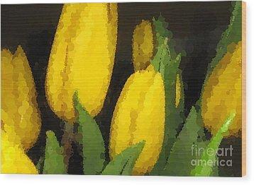Polka Dot Yellow Tulips Wood Print by Barbara Griffin