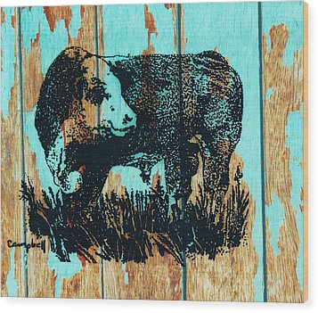 Polled Hereford Bull 23 Wood Print