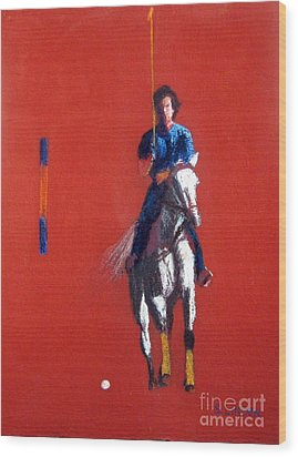 Polo Player Wood Print by Sandy Linden