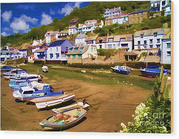 Polperro At Low Tide Wood Print by David Smith