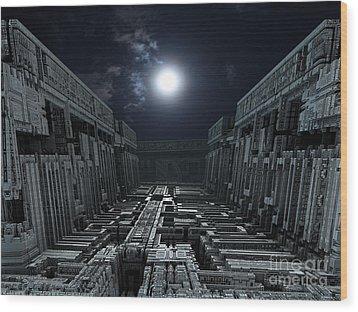 Polychrony Moonlight Wood Print by Bernard MICHEL