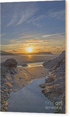 Polzeath Sunset Wood Print