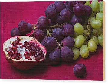 Pomegranate And Green And Red Grapes Wood Print by Alexander Senin