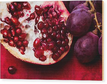 Pomegranate And Red Grapes Wood Print by Alexander Senin