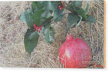 Pomegranate Love Forever Wood Print by Feile Case