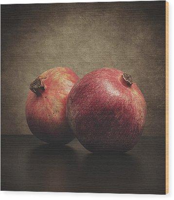 Pomegranate Wood Print by Taylan Apukovska