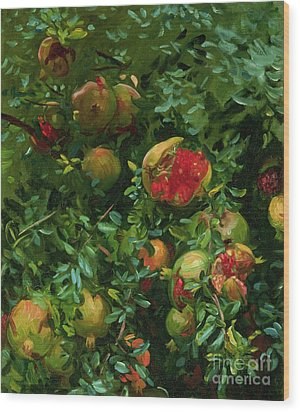 Pomegranates    Majorca Wood Print by John Singer Sargent