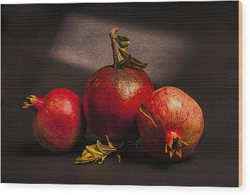Pomegranates Wood Print by Peter Tellone