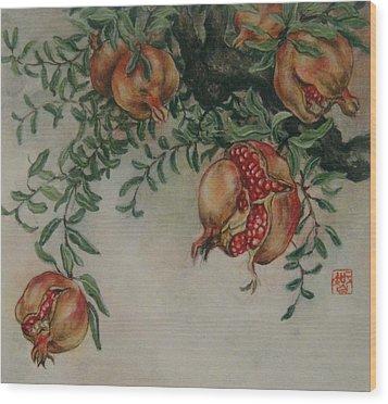 Pomegranates Wood Print by Tomoko Koyama
