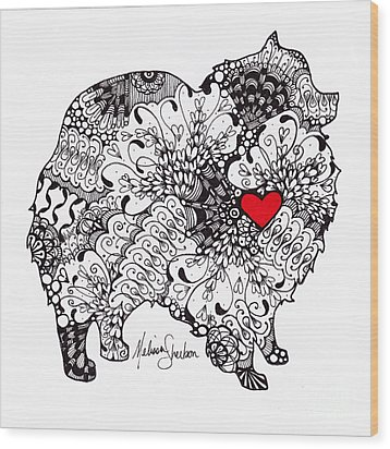 Wood Print featuring the drawing Pomeranian by Melissa Sherbon