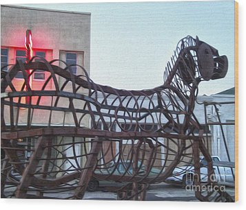 Pomona Art Walk - Metal Horse Wood Print by Gregory Dyer