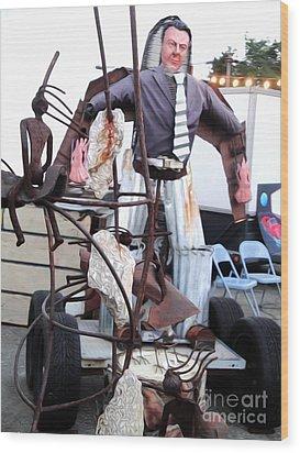 Pomona Art Walk - Metal Man Wood Print by Gregory Dyer
