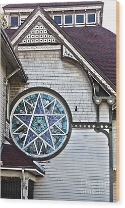 Pomona Seventh Day Adventist Church Stained Glass Wood Print by Gregory Dyer