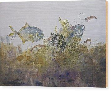 Pompano And Shrimp Wood Print by Nancy Gorr