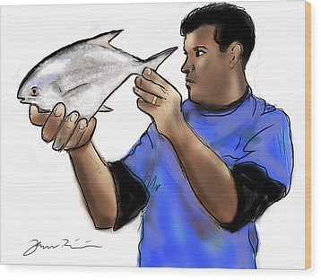 Wood Print featuring the painting Pompano Catch Of The Day by Jean Pacheco Ravinski