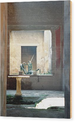 Pompeii Courtyard Wood Print by Marna Edwards Flavell