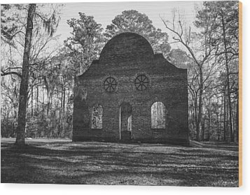 Pon Pon Chapel Of Ease 2 Bw Wood Print by Steven  Taylor
