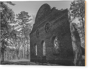 Pon Pon Chapel Of Ease 3 Bw  Wood Print by Steven  Taylor