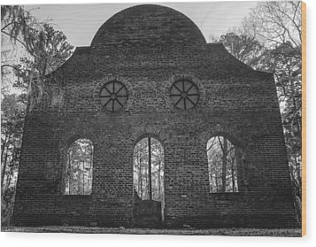 Pon Pon Chapel Of Ease 5 Bw Wood Print by Steven  Taylor