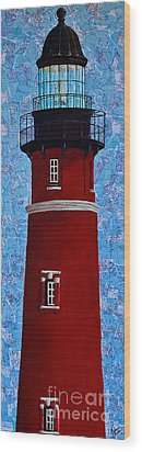 Wood Print featuring the mixed media Ponce Inlet Lighthouse by Melissa Sherbon