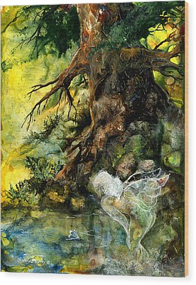 Pond Fairy Wood Print by Sherry Shipley