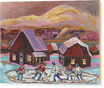 Pond Hockey Cozy Winter Scene Wood Print by Carole Spandau