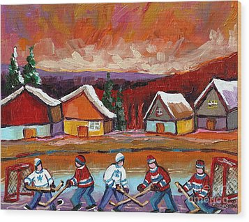 Pond Hockey Game 2 Wood Print by Carole Spandau