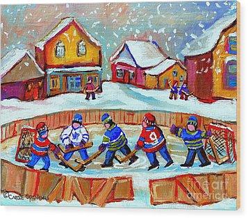 Pond Hockey Game Wood Print by Carole Spandau