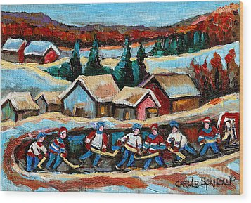 Pond Hockey Game In The Country Wood Print by Carole Spandau