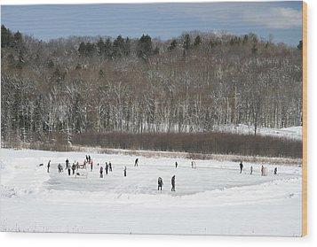 Pond Hockey Muskoka Wood Print by Carolyn Reinhart