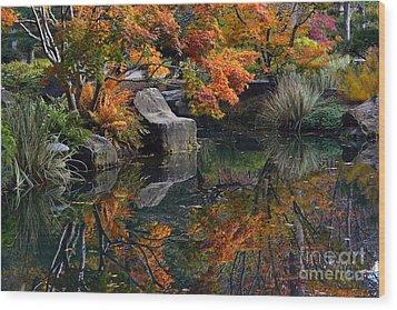 Pond In Autumn Wood Print by Lisa L Silva