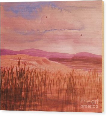 Pond In Drought Wood Print by Suzanne McKay