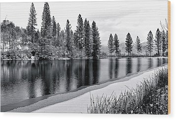 Wood Print featuring the photograph Pond In Snow by Julia Hassett