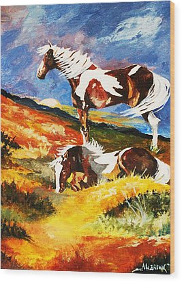 Wood Print featuring the painting Ponies At Sunset by Al Brown