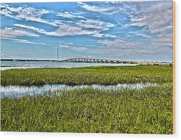 Ponquogue Bridge Wood Print