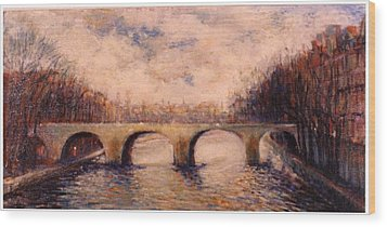 Pont Sur La Seine Wood Print by Walter Casaravilla