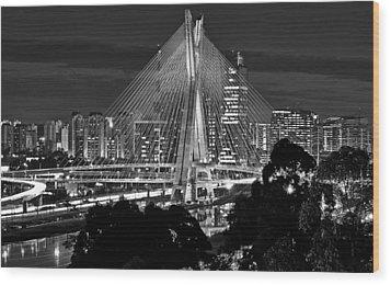 Sao Paulo - Ponte Octavio Frias De Oliveira By Night In Black And White Wood Print