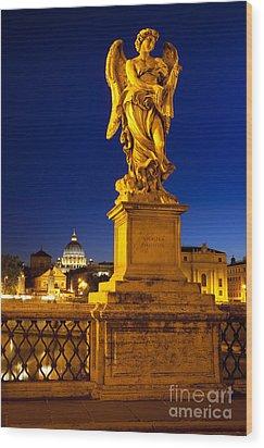 Ponte Sant Angelo Wood Print by Brian Jannsen