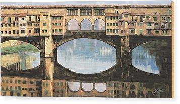 Ponte Vecchio A Firenze Wood Print by Guido Borelli