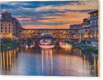 Ponte Vecchio At Sunset Wood Print