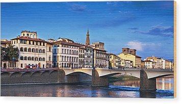 Ponte Vecchio Bridge At Twilight Wood Print by Susan Schmitz