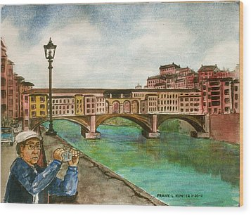 Ponte Vecchio Florence Italy Wood Print by Frank Hunter