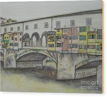 Wood Print featuring the painting Ponte Vecchio Florence Italy by Malinda  Prudhomme