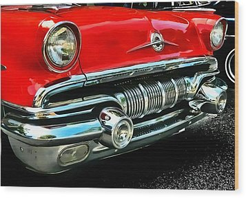 Wood Print featuring the photograph Pontiac Grill by Victor Montgomery