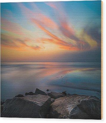 Ponto Jett Sunset - Square Wood Print by Larry Marshall