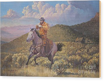 Pony Express Rider At Look Out Pass Wood Print