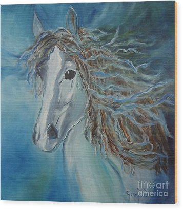 Wood Print featuring the painting Pony by Jenny Lee