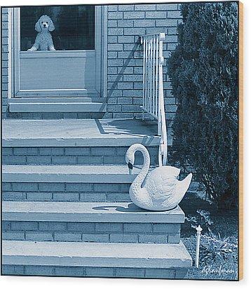 Poodle And Swan Wood Print