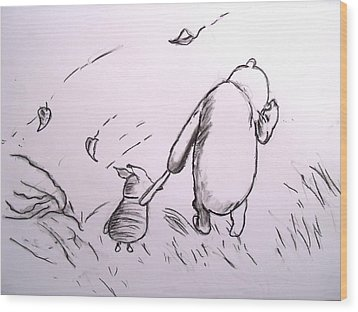 Pooh And Piglet Wood Print by Jessica Sanders